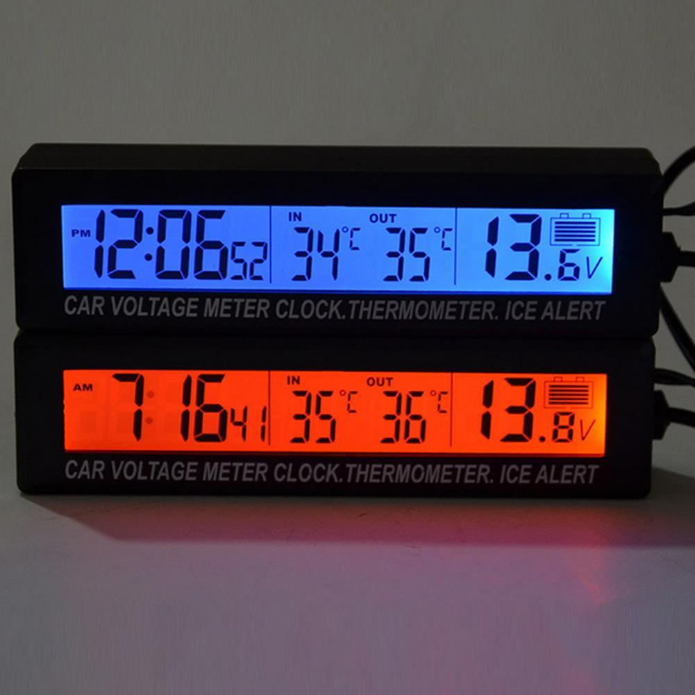 6062d3c8697e Compre 3 En 1 Termómetro Digital Para Coche Monitor De Voltaje De La  Batería Termómetro Automático Voltímetro Reloj LCD Socket De Cigarrillos  Para Coche 12 ...