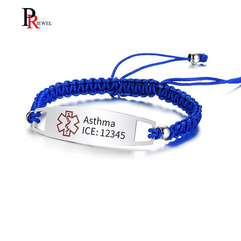 Free Medical Alert ID Bracelets for Women Man with Nylon Rope Braid Wrapped  Link 5 90-11 02 Inches
