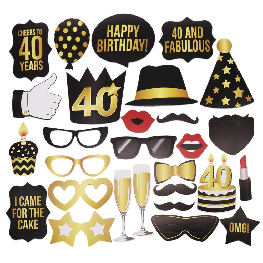 Party KTV Photo Props Funny Style Moustache Glass Mask 30 40th 50th Birthday Gift Favor Decoration Lights