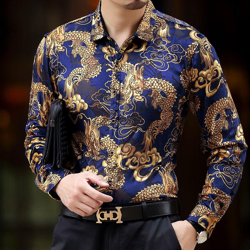 1d90729899 Camisas de seda barrocas Camisas de vestir de hombre dragón Vestidos de  club de hombres Vestido negro y dorado Camisas de lujo Camisa Slim Fit de  viscosa ...