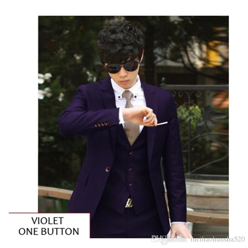2018 New Single-Breasted Notched Lapel Men Wedding Suit Sets Formal Fashion Slim Fit Business Dress Suits Jacket+Pant+Tie