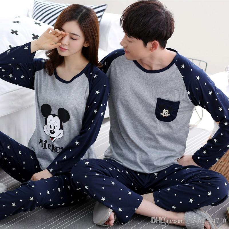 2019 High Quality Spring Autumn New Cotton Couple Pajamas Set Long Sleeved  Sleepwear Suit Men And Women Casual Homewear Lover Pajamas From  Moonlight710 75448f5a1