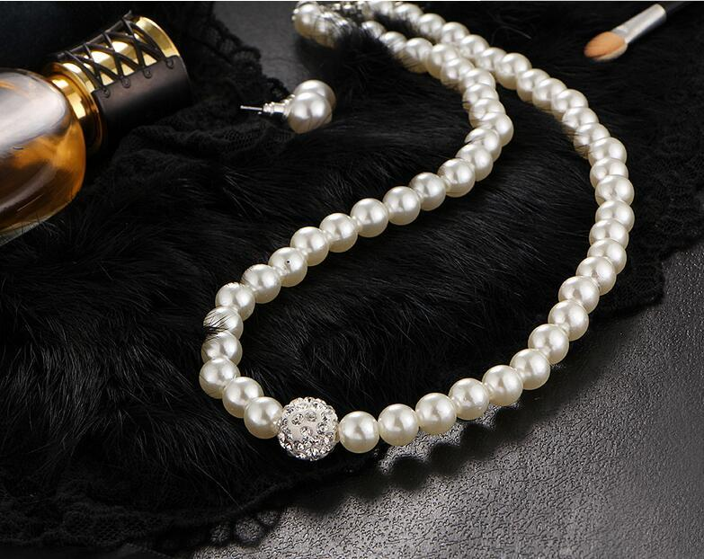 XIYA 2017 Fashion Bridal Jewelry Sets Simulated Pearl Wedding Earrings Crystal Necklace Party Beads Bracelet Accessories N49