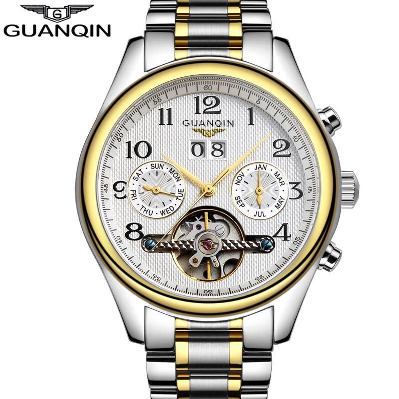 2d24f3b59b01 Compre Relojes De Lujo Hombres Top Marca Original GUANQIN Zafiro Mecánico  Impermeable Automático Relojes Mecánicos Moda Hombres Reloj De Pulsera A   72.11 ...