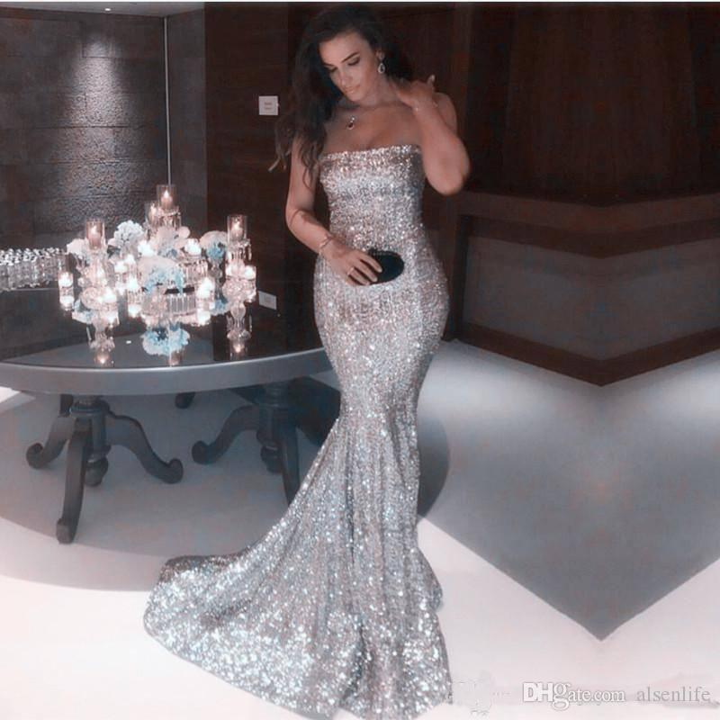 Sexy Strapless Silver Mermaid Prom Dresses 2018 New Arrival Sparkly Sequined Long Formal Evening Gowns Cheap Vintage Party Wear