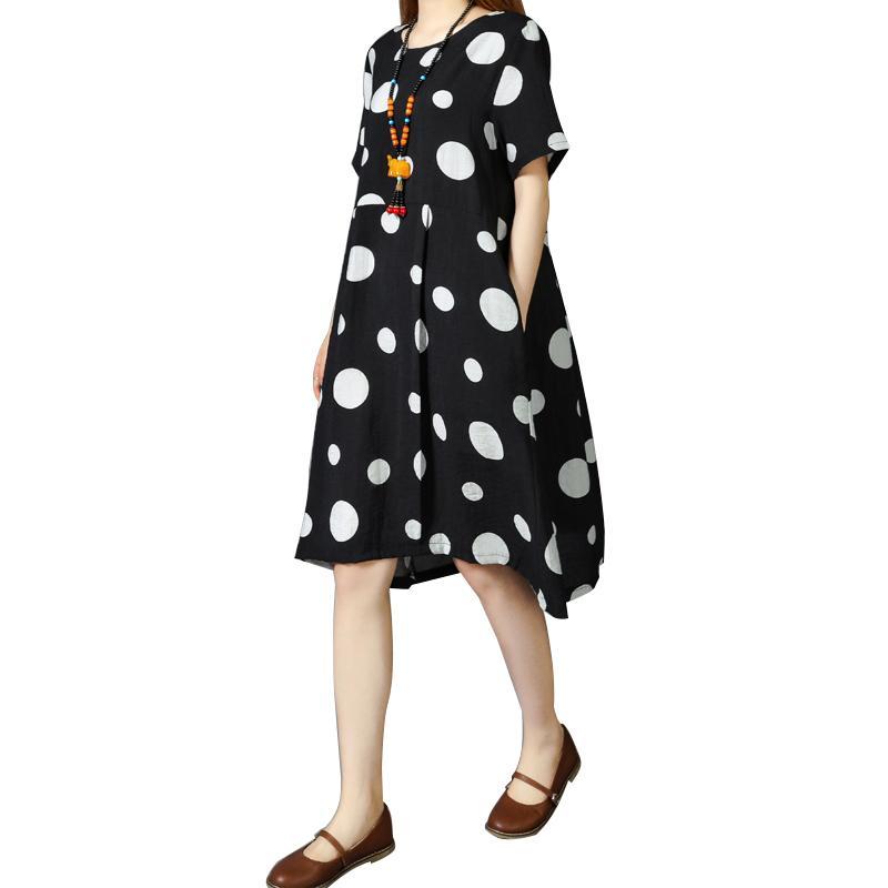 274ce71a557 Acheter Mode Pour Femmes Robe En Coton À Pois Imprimé À Manches Courtes  Poche Casual Robe D été Mi Longue Ample Et Blanche Blanc   Noir Robes Pour  Dames ...
