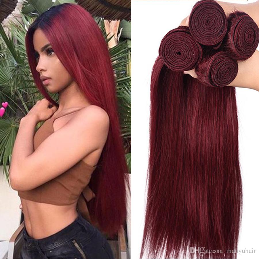 Burgunder-brasilianische gerade Jungfrau-Menschenhaar-Webart-Bündel peruanischer indischer malaysischer kambodschanischer Farbe 99J roter Remy Haar-Erweiterungs-8A Grad