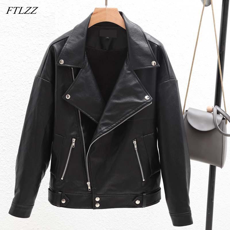 Ftlzz Frühling Herbst Frauen Faux Wildleder Jacke Vintage Kurzen Schwarzen Weichen Motorrad Jacken Fashion Basic Mäntel Weibliche Haus & Garten