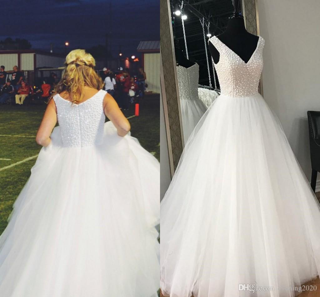 e704ae962ab 2018 Elegant White A Line Tulle Prom Dresses V Neck Sleeveless Zipper Floor  Length Prom Gowns Evening Dresses Custom Prom Dress Design A Prom Dress  From ...