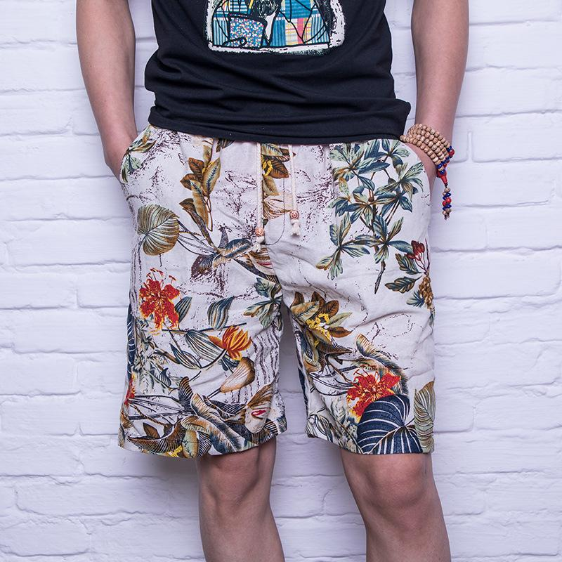 e71d0b5f03 2018 Uwback 2018 Summer Men Causal Shorts Printed Vintage Linen Shorts  Quick Dry Knee Length Beach Loose Classic Bermuda XA605 From Sunflowery, ...