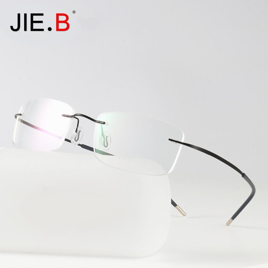 7ce786fec3 2019 Titanium Glasses Frame Men Semi Rimless Prescription Eyeglasses Women  Myopia Optical Frames Korean Screwless Eyewear Silhouett From Shuidianba