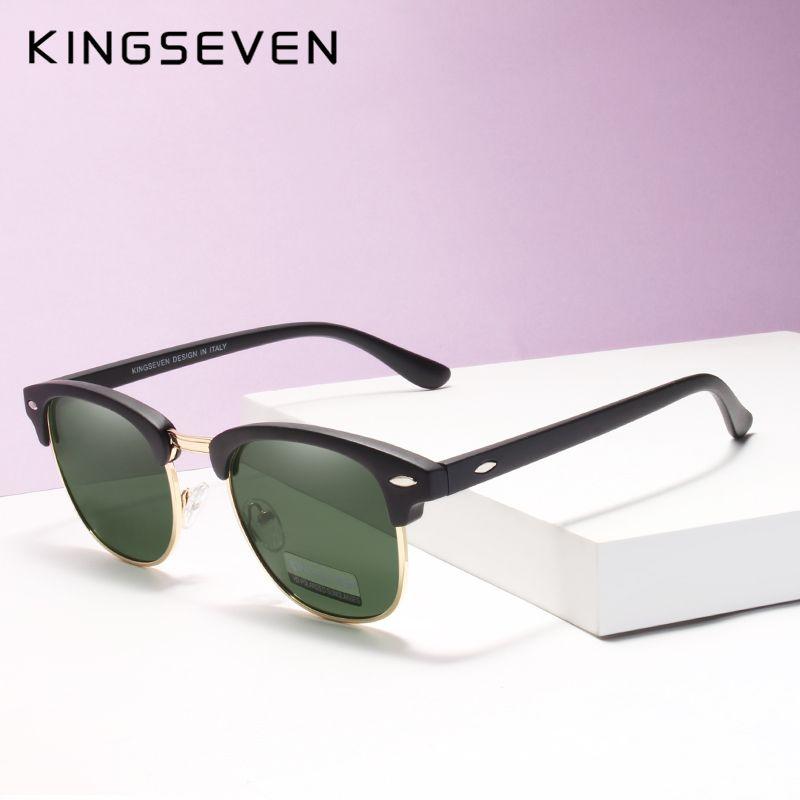 292e0f203f KINGSEVEN Polarized Round Sunglasses Mens Brand Designer Women Club Round  Glasses Classic Sun Glasses Driving Semi Rimless Eyeglasses Sunglasses Hut  From ...