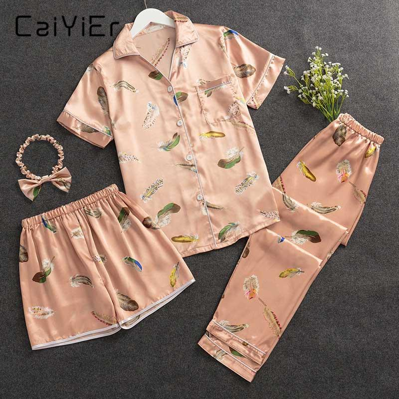 30c53ef114 2019 Wholesale 2018 Silk Pajamas Set Feather Print V Neck Summer Casual Pajamas  Pants Shorts Pajamas Women Four Sets Sleepwear DXT01 From Clothesg202
