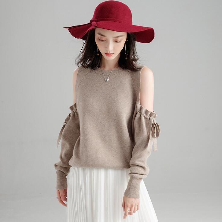 Women s Long Sleeved Round Neck Sweater New Autumn Winter 2018 ... 8897644daa55