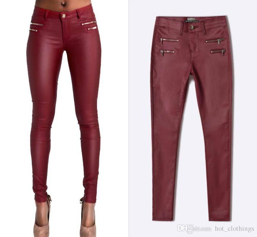 e06c35ef86 Compre Cintura Baja Faux PU Cuero Pantalones Mujeres Doble Cremallera  Skinny Jeans Femme Alto Estiramiento Push Up Pantalones Feminino Vino Rojo  Pantalon ...