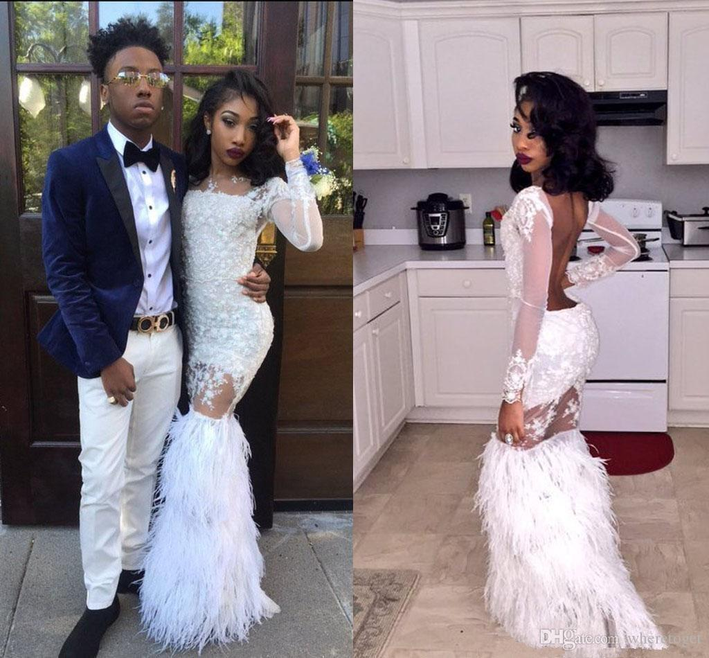 Luxury white Feather Prom Dresses With Long Sleeves Sheer tiered skirt Arabic Evening Gowns Tulle backless Formal Dresses Gowns Plus Size