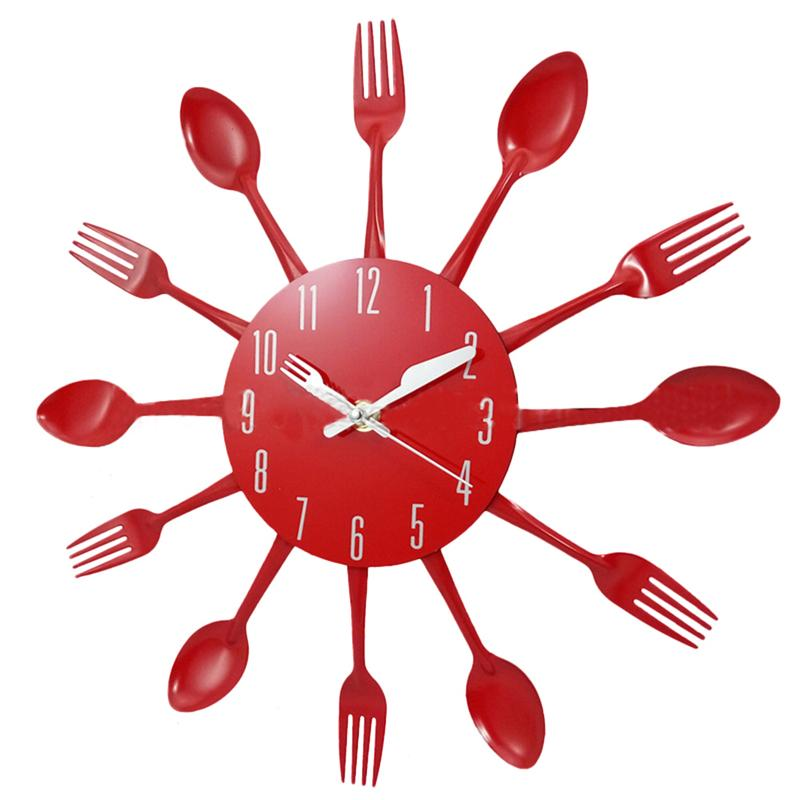 Stainless Steel Metal Modern Wall Clock For Kitchen Cutlery Solid