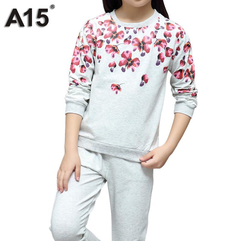 9c27d817937 2019 A15 Girls Clothes Suit Teenage Girls Clothing 2018 Spring Autumn T  Shirt Tops Pants Kids Outfits Children Tracksuit 8 10 12 Year From Fkansis