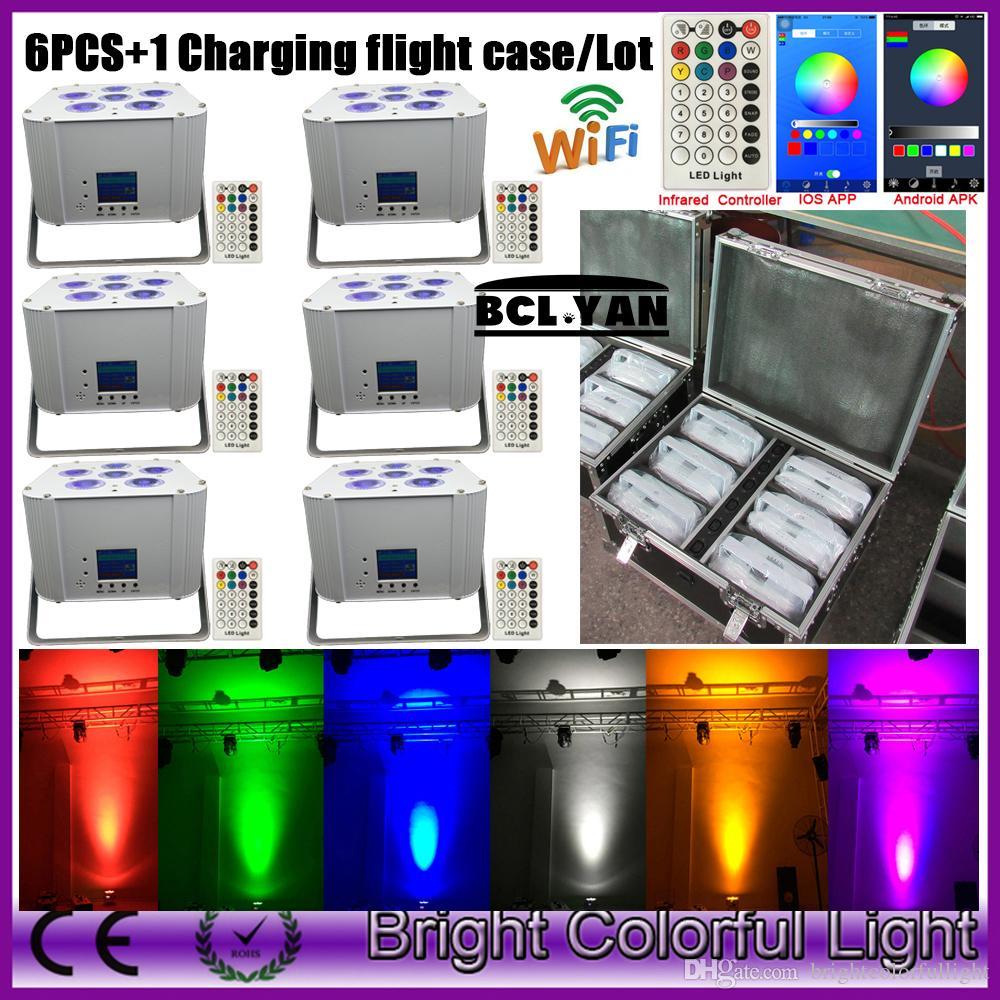 wedding uplight rgbaw uv rechargeable battery powered Wifi APP wireless dmx  led par light remote IRC 6*18w (6pcs 1 flight case)