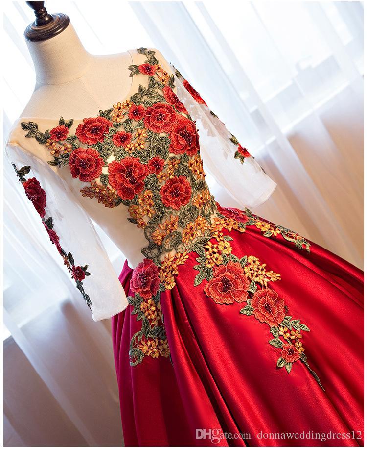 2018 nouvelles robes de bal élégantes de satin de bordeaux 2018 brodées perlées demi-manches robes de soirée de cou de o robes de soirée formelles