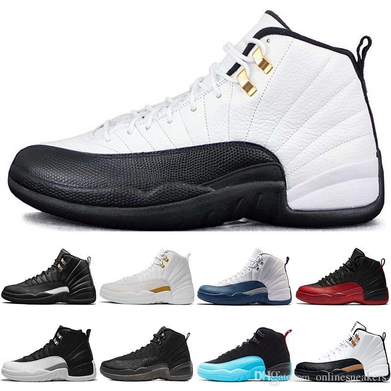 size 40 82779 61b93 Großhandel Nike Air Jordan Retro Günstige Basketball Schuhe 12 12s Männer  Taxi Die Master Grippe Spiel Französisch Gamma Blau Schwarz Weiß Playoffs  Herren ...