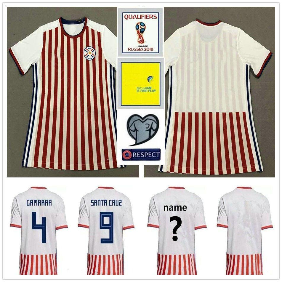 2018 Paraguay World Cup Jerseys 4 GAMARRA 9 SANTA CRUZ VELAZQUEZ Gonzalez  Miguel Almirón Camiseta De Futbol Soccer Football Uniform Shirt Por  Fans edge 2f34aa2ca7200