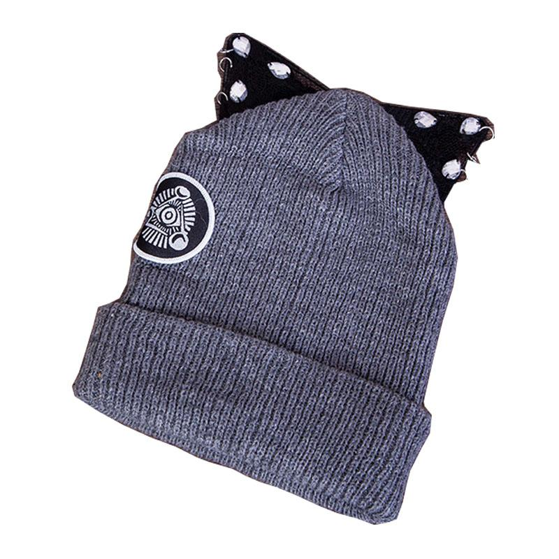 2019 Lace Rhinestones Women S Beanies With Iron Ring Cute Cat Ear Winter Women S  Hats Fashion Knitted Cap From Fwuyun 54c4da50d