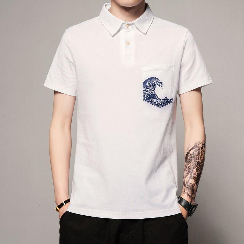 4ddc7dd3dfe2cd 2018 desgaste do verão dos homens novos estilo chinês impresso manga curta  t-shirt dos homens da moda tamanho grande coringa retro camisa polo