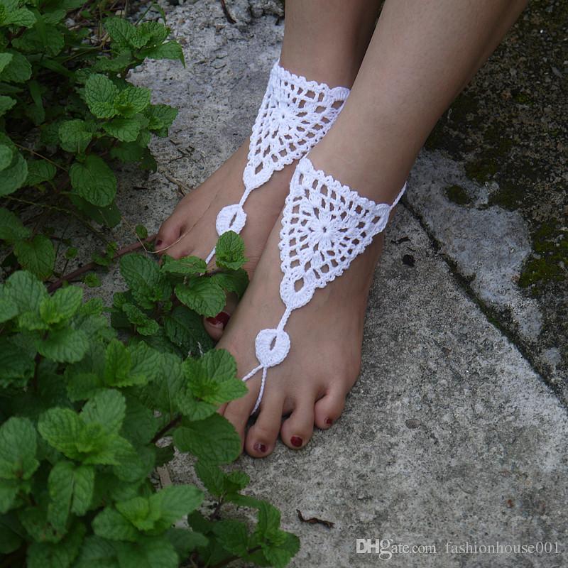 Crochet white barefoot sandals Nude shoes Foot jewelry Beach wear Yoga shoes Bridal anklet bridal beach accessories white lace sandals S179