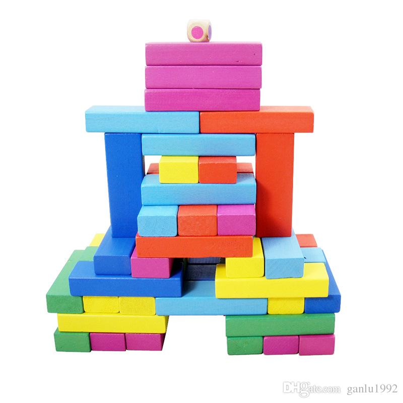 Jenga Wooden Material Multicolor Toys 48pcs Classic Building Blocks Interesting DIY Puzzle Family Board Game Hot Sale 7 9zc W