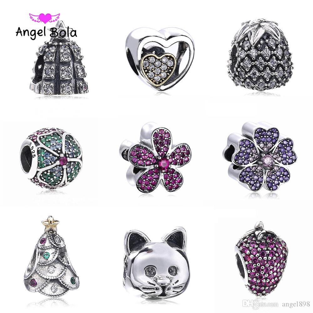 Fits Pandora Bracelets New Design little cat Round Beads Original 925 sterling silver Charms with cubic zirconia DIY Jewelry