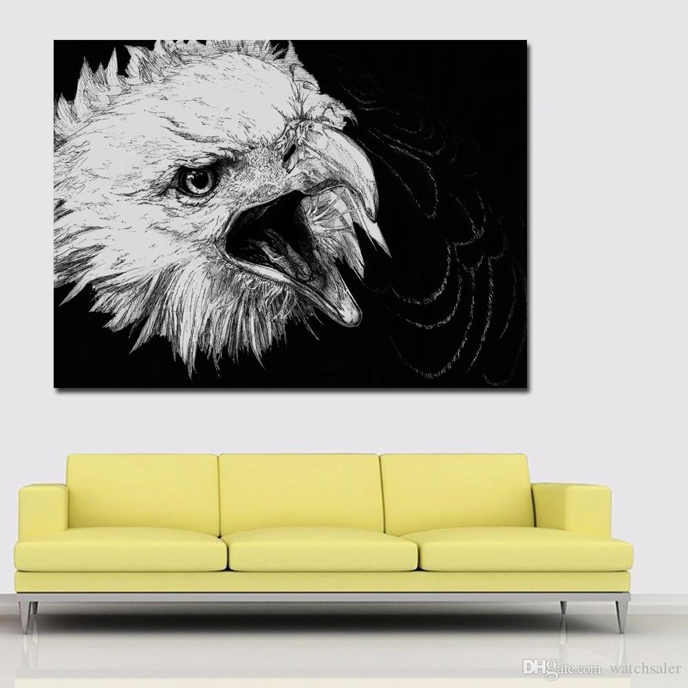 1 Panel Birds Painting Black And White Paintings Animals Eagle Head ...
