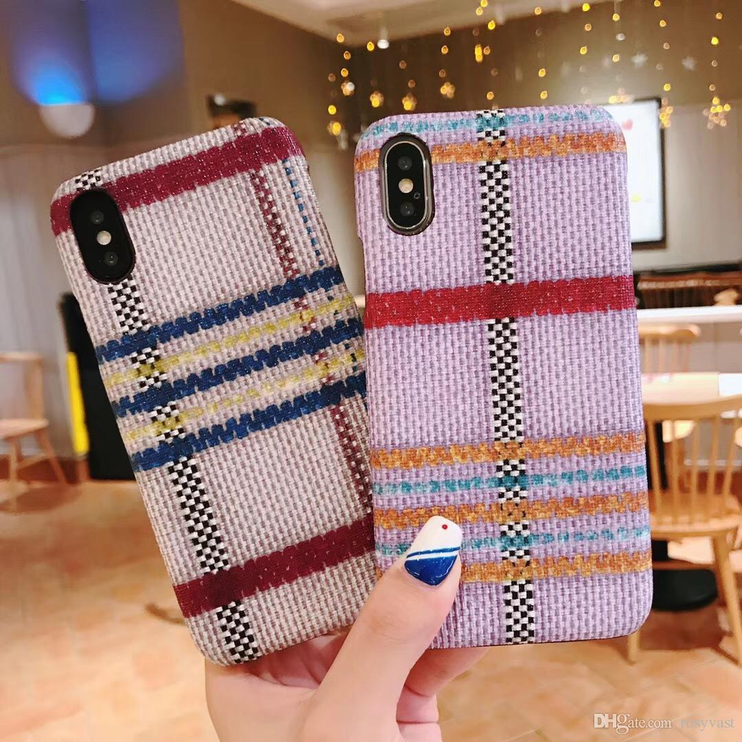 New Fiber Skin Pattern Shockproof Mobile Phone Case For Iphone X 8