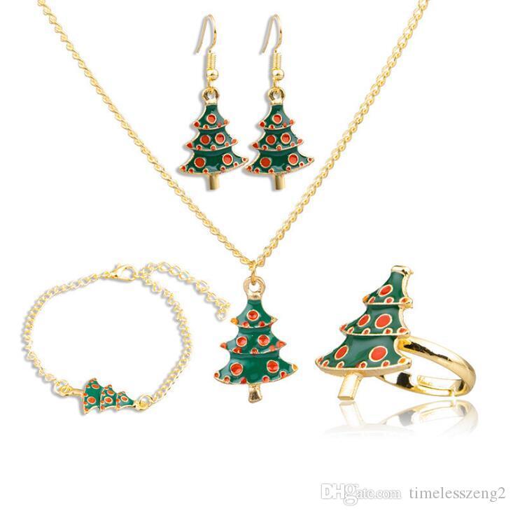 Schmuck Weihnachten.Schöne Frauen Weihnachten Schmuck Anzug Diamant Halskette Ohrring Armband Ring Gesetztes Stummelbein Kette Weihnachten Verzierung Freundin Neues Jahr