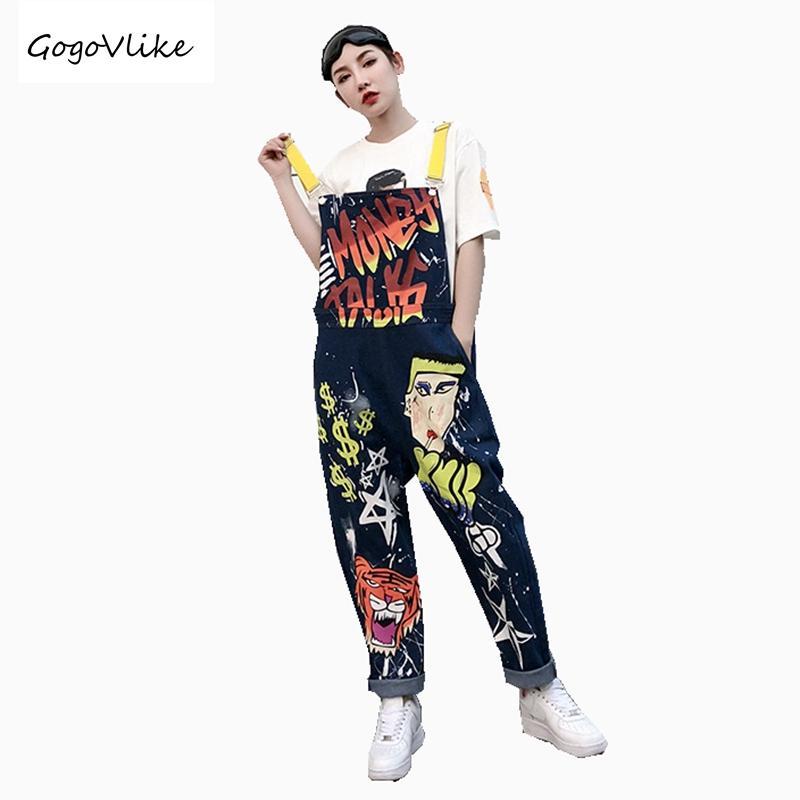f08ec3dd9be 2019 Graffiti Print Bib Pants Women 2018 Spring Denim Jumpsuit ...