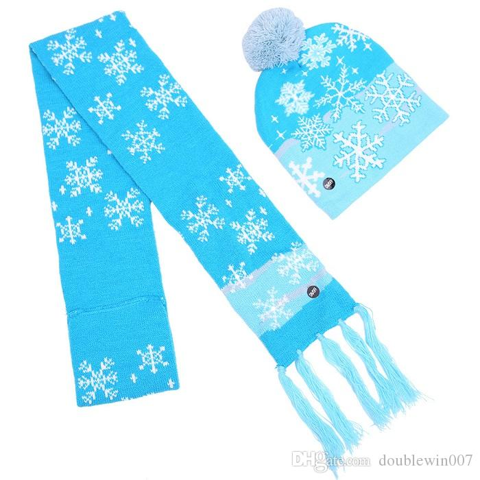 4 Styles Christmas LED Knitted Hat Scarf Set LED Lights Pom Beanie Scarves Set Xmas Snowflake Crochet Hats Christmas Gift DHL free shipping