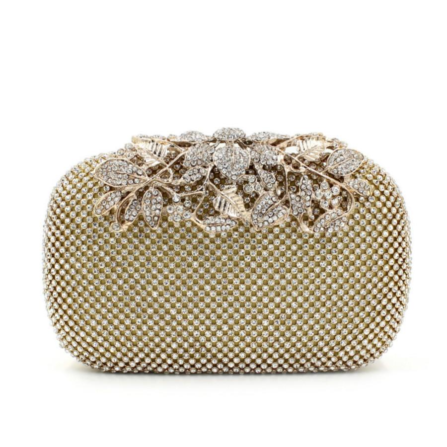 841346d4bc63 Flower Crystal Evening Bag Clutch Bags Clutches Lady Wedding Purse  Rhinestones Wedding Handbags Silver Gold Black Evening Bag Leather Bags For  Women ...