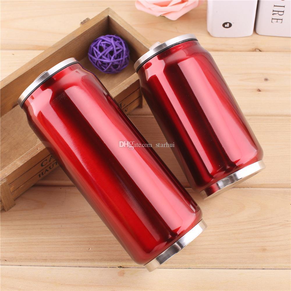 350ML 500ML Cola Su Kupa Paslanmaz Çelik Açık Vakum İzoleli Mug Kupası Sith Straw Kapaklar WX9-488 Şişe Can