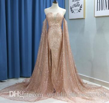 69245d7f360 Glitter Rose Gold Sequin Mermaid Prom Dresses With Detachable Long Sleeves  Wine Red Evening Formal Gown Split V Neck Court Train Black Formal Dresses  Cheap ...