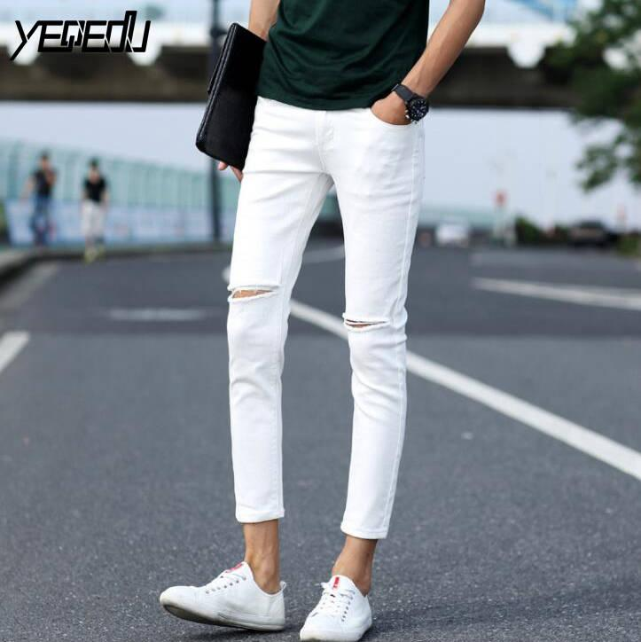 e0633a01fb6 2019 #1403 Destroyed Jeans Men Summer 2018 Casual White/Black Ripped Jeans  Men High Street Ankle Length Black Ripped From Vikey13, $22.36   DHgate.Com