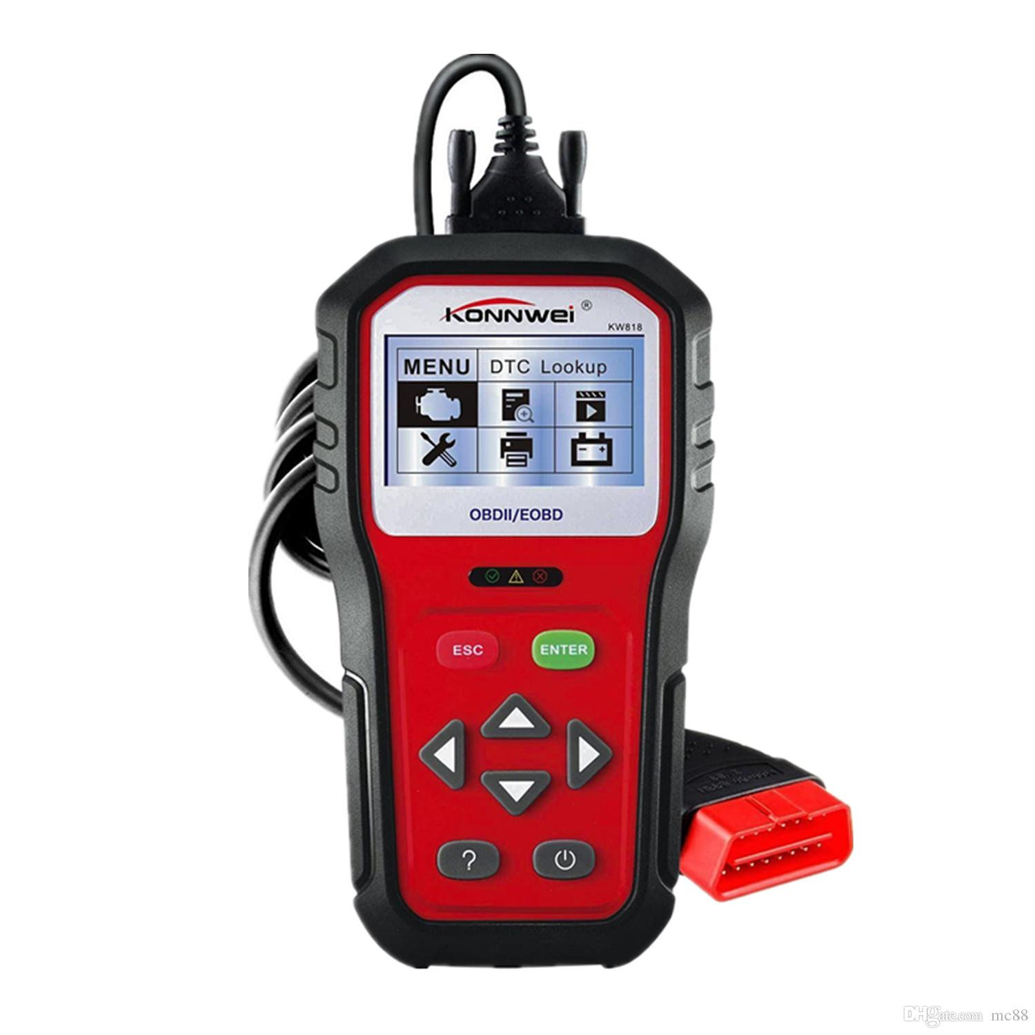 KW818 Enhanced OBD II Scan Tool Check Engine Reader Automotive Car Code Reader, Color Screen Full OBD2/ EOBD Function with O2 Sensor Test