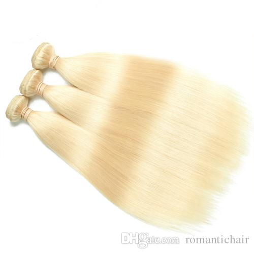 Brazilian Raw Virgin Straight Hair 613 Blonde Non-Remy 100% Human Hair Bundles For Salon Hair Extensions