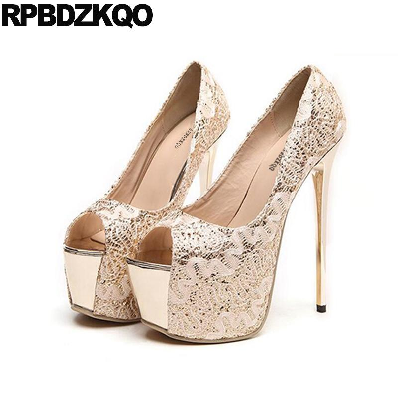 b1c25f668bd9 Fetish Extreme Stripper Golden Round Toe Pumps High Heels Super Catwalk  Silver Open Shoes Gold Platform Ultra Gothic 2018 Thin Mens Chelsea Boots  Pink Shoes ...