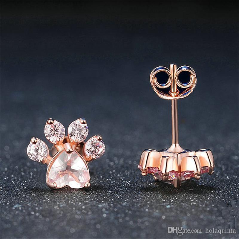 Shiny Pink Stud Earrings CZ Bear Joyas Perro Paw Estampado Pendiente Piercing Oro rosa Pendientes de animales pequeños para mujeres