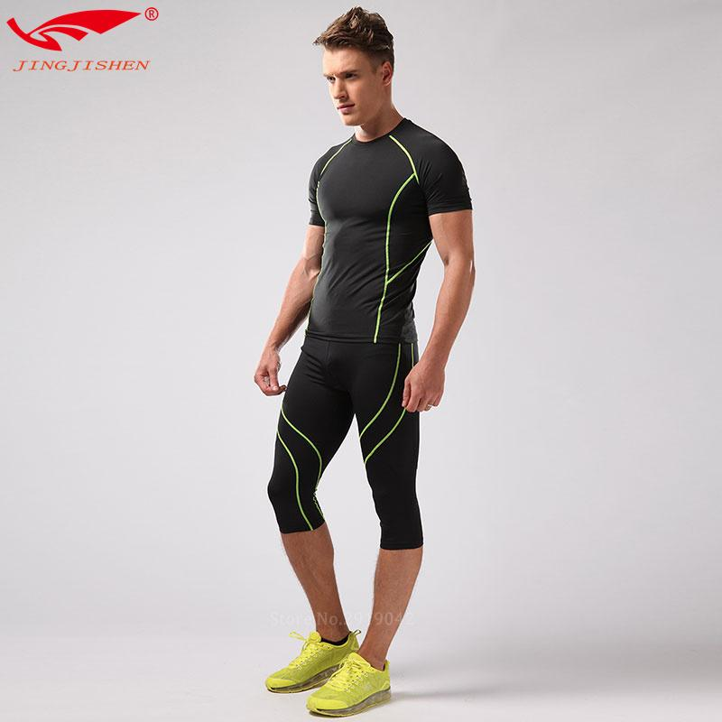 ffea61bad98 Men Sports Suits Running Clothes Mens T-shirt Gym Clothing + ...