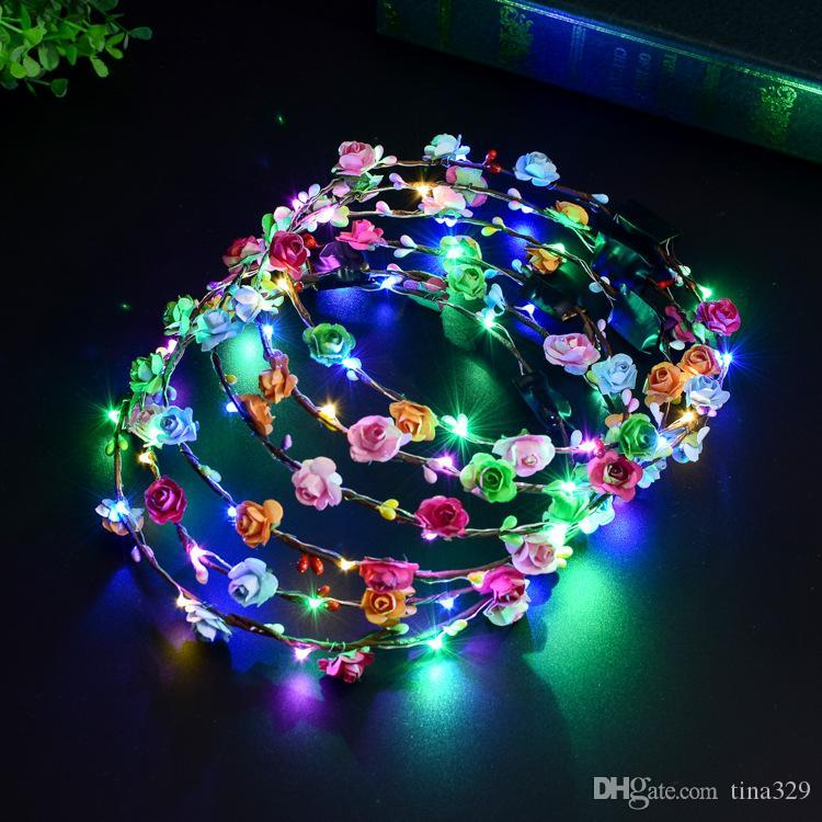 Multicolor Luminous Headwear Rattan Flower Wreath Glowing LED Head Band Party Wedding Decoration For Women Girls Masquerade T2I336