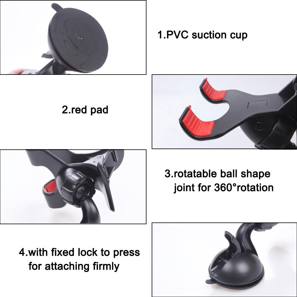 360 Rotativa Universal Windshield Car Duplo Clipe Montar Janela / Desktop Ventosa Suporte Cradle para Telefone Celular GPS Devices