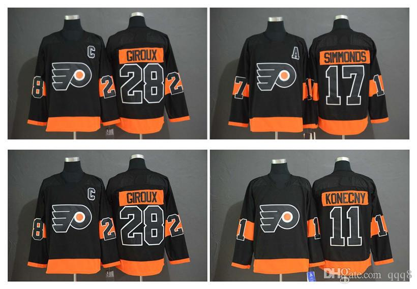 76f64a661 2019 Third Philadelphia Flyers Jersey 28 Claude Giroux 11 Travis Konecny 17 Wayne  Simmonds Black Hockey Jersey Edmonton Jerseys Canadiens Jersey Blackhawks  ...