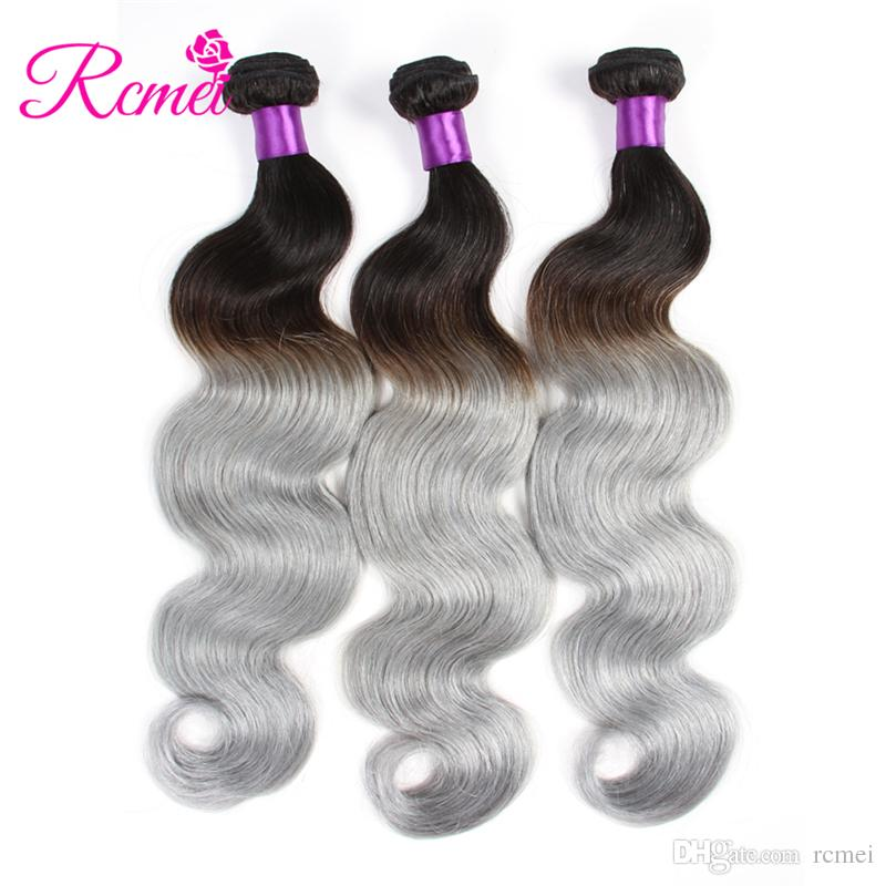 Rcmei Ombre 1b/Gray Human Hair Weave 3 Bundle Double Weft Hair Extensions Body Wave Grey Remy Brazilian Human Hair Bundles