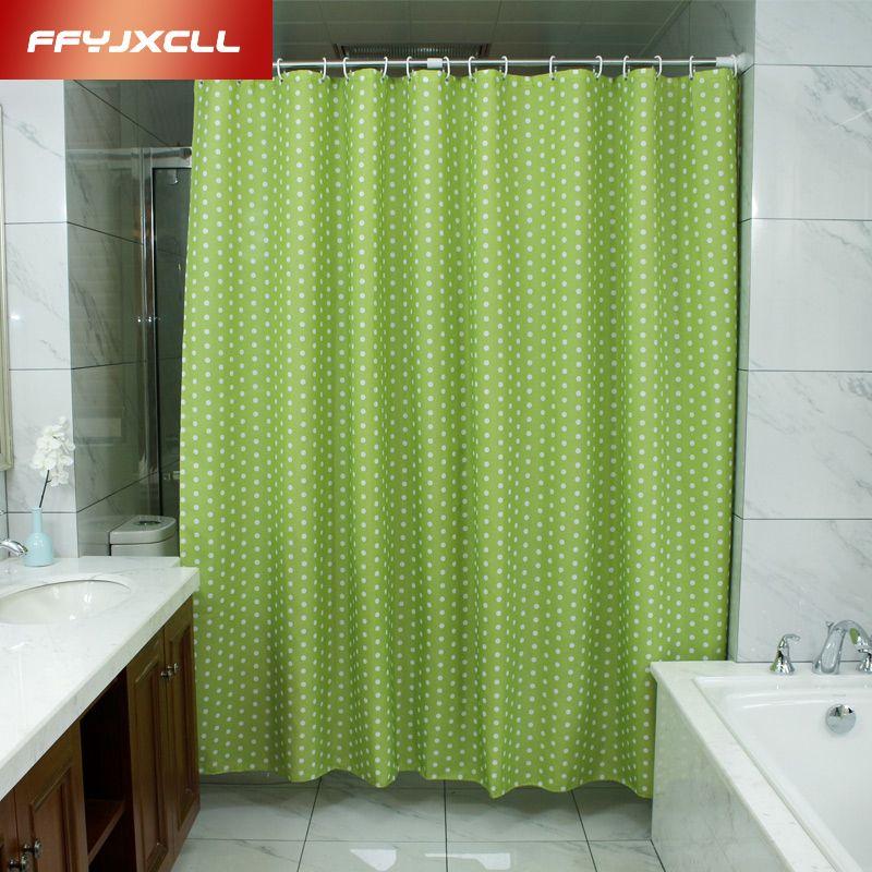 Pastoral Green Dots Shower Curtain 180 x 200cm Bath Curtain Bathroom ...